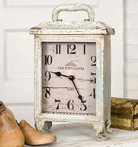 Carriage Clock Rustic in Distressed Tin, Stands 11 Inches Tall, Battery