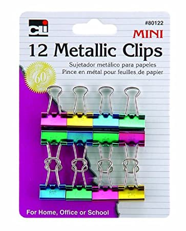 Amazon.com : Charles Leonard Binder Clips, Metallic, Assorted Colors, Mini, 12-Pack (80122) : Office Products