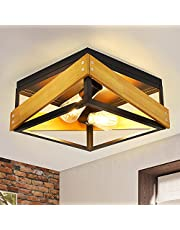 DLLT Rustic Industrial Flush Mount Ceiling Light Fixture, 2-Light Square Ceiling Light with Wooden and Metal Frame for Hallway Living Room Bedroom Kitchen Entryway Farmhouse, Matte Black E26
