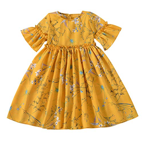 Baby Girls Floral Sundress, Cotton Ruffle Short Sleeve Tutu Party Dress Ruched Princess Dresses (3-4 Years, Yellow)