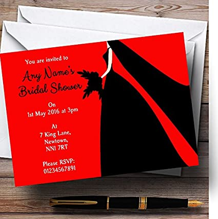 red black bride personalized bridal shower party invitations