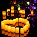Kohree Set of 12 Flameless Votive Candles Pillar LED Candles with Remote & Timer, Batteries Included, Wavy-edge, Yellow Color