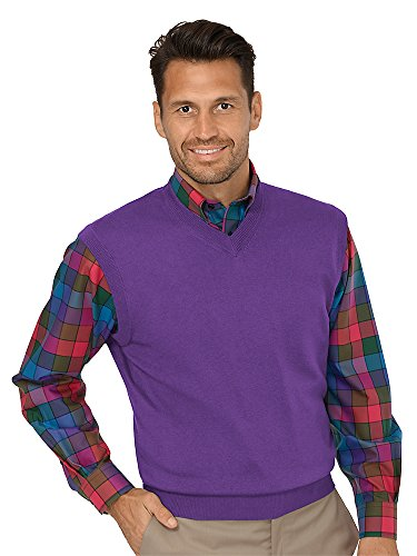 Paul Fredrick Men's Silk, Cotton \ Cashmere V-Neck Vest Purple 3XL Big And Tall Cotton Sweater