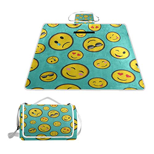 FunnyCustom Picnic Blanket Color Emoji Emotion Face Outdoor Blanket Portable Moisture Proof Picnic Mat for Beach Camping