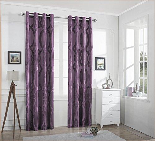 Pink Velvet Drapery Panels (Ifblue Window Treatment - Light Filtering Cutting Velvet Sheer Window Curtain Panel With Grommet Top (2-Pack, One Pair) (52