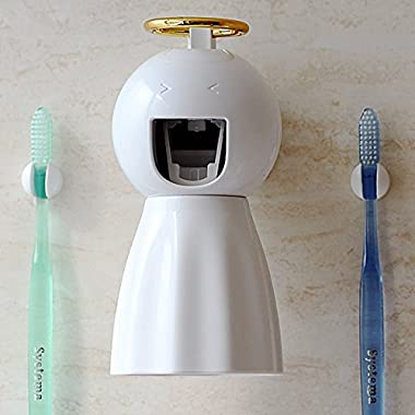 VIVISKY Wall-Mounted Toothpaste Dispenser and Toothbrush Holder Set Automatic Toothpaste Squeezer (White)