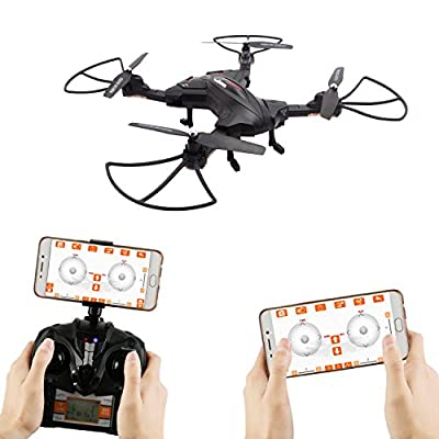 OKPOW Foldable RC Drone APP Control Aerial Quadcopter One Key Return 2.4G 6-Axis Gyro Drone 360° Rotation Altitude Hold Headless Mode Gravity Sensor RC Quadrotor with FPV 720P Camera LED light Black from OKPOW