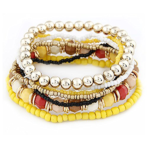 Bohemia Collection Beads Bracelet Multi Layer Strand Stretch Bracelets Bangles By D'or Designs (Summer - Design Stretch Bracelet Bangle
