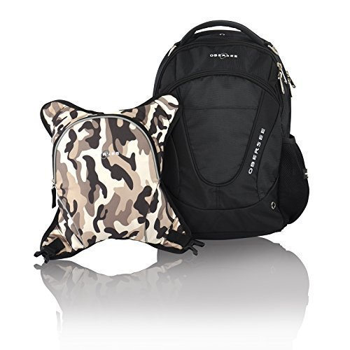 Obersee Oslo Diaper Bag Backpack with Detachable Cooler, Black/Camo by Obersee by Obersee