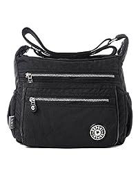 Fadsace Womens Lightweight Nylon Cross Body Shoulder Bag Casual Zipper Messenger Bag