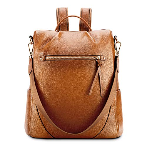 Kattee Leather Backpack Purse for Women Anti-theft Rucksack Shoulder Bag - Brown
