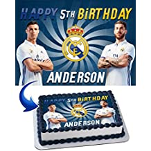 Real Madrid Cristiano Ronaldo, Sergio Ramos Birthday Cake Personalized Cake Toppers Edible Frosting Photo Icing Sugar Paper A4 Sheet 1/4 ~ Best Quality Edible Image for cake