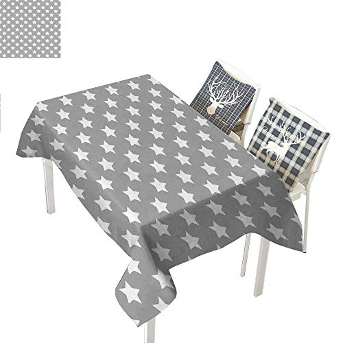 WilliamsDecor Star Dinning Table Covers Big Stars Pattern Monochrome Artful Modern Baby Nursery Design Starry Night ThemedGrey White Rectangular Tablecloth W52 xL70 inch