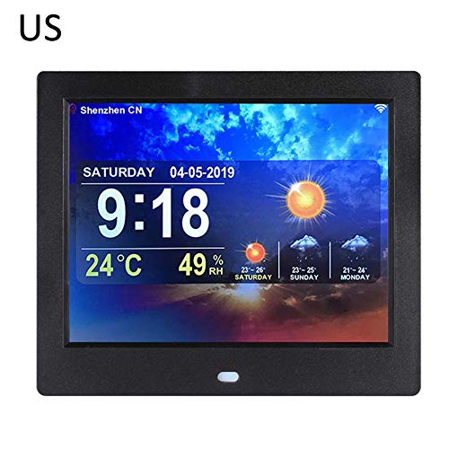 Jungles Smart WiFi Weather Stations - Real-time Weather + Clock + Temperature + Humidity + Digital Photo Electronic Album Player - 8 Inch Home Weather-Station
