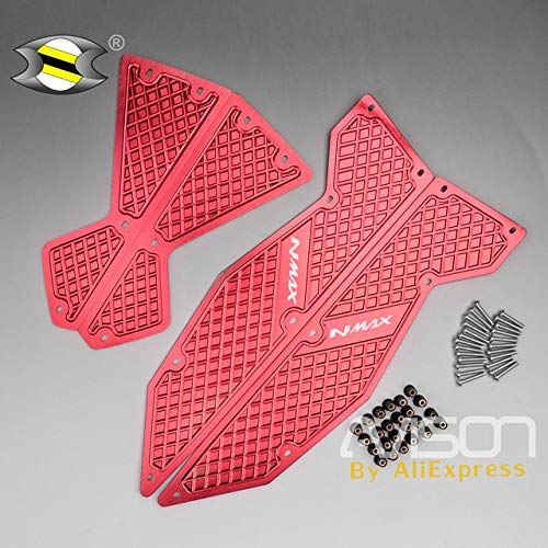 Frames & Fittings Motorcycle CNC Aluminum Footpeg Pedal Plate Footrest Step Pad Mat for Yamaha Nmax 125 NMAX155 - (Color: Red)