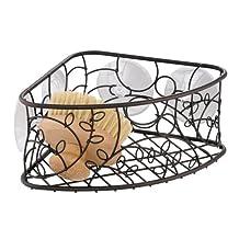 InterDesign Twigz Suction Corner Bathroom Shower Caddy Basket for Shampoo, Conditioner, Soap - Bronze