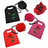 Search : Black Pink or Red Flower Tote Nylon Reusable Fold Shopping Bag + Rose Hair Clip