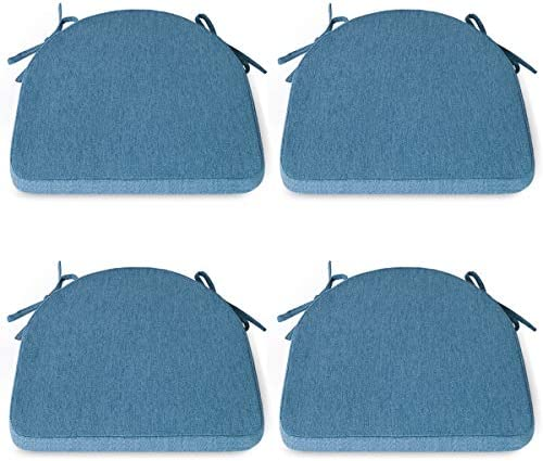 Shinnwa Chair Cushion with Ties for Dining Chairs [17 x 16.5 Inches] Non Slip Kitchen Dining Chair Pad and Seat Cushion with Machine Washable Cover Set of 4 - Blue