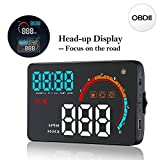 Favoto HUD Head up Display Compatible with OBDII/OBD2 Or EU OBD Car Plug & Play Speedometer Measurement KM/H MPH