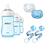 New Baby Gift Set W 3 Pcs Philips Avent Baby Feeding Formula Bottles For Boys, 2 Silicone Orthodontic White and Blue Pacifiers & Plastic Pacifier Holder 2 Pack Boy Bundle