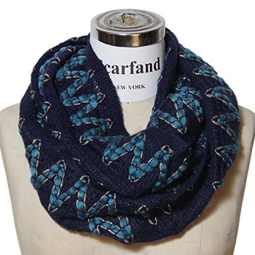Scarfand Multi-color Zig Zag Chevron Knit Infinity Scarf (Navy)