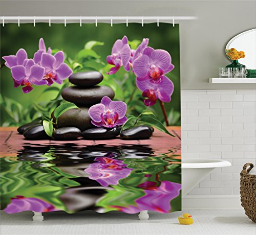 Ambesonne Spa Decor Collection, Zen Basalt Stones and Orchid Reflecting on Water Greenery Wellbeing Tropical Image, Polyester Fabric Bathroom Shower Curtain Set with Hooks, Orchid Olive Green by Ambesonne (Image #1)