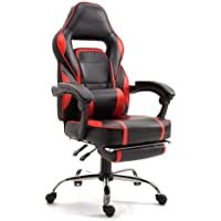 Mahmayi 590 Gaming Chair High Back Computer Chair PU Leather Desk Chair PC Racing Executive Ergonomic Adjustable Swivel Task Chair with Headrest and Lumbar Support (Black/Red)