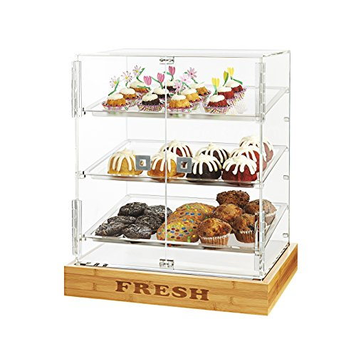 Rosseto BD125 2 Door Acrylic Bakery Cabinet with ''FRESH'' Bamboo Base by Rosseto