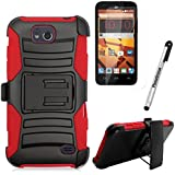 ZTE MAJESTY PRO Case / ZTE MAJESTY PRO PLUS Case, Phonelicious Xtreme Armor [Heavy Duty] Hybrid Dual Layer Kickstand Belt [Holster Clip] Combo Rugged Tuff+ Screen Protector & Stylus (RED XC)