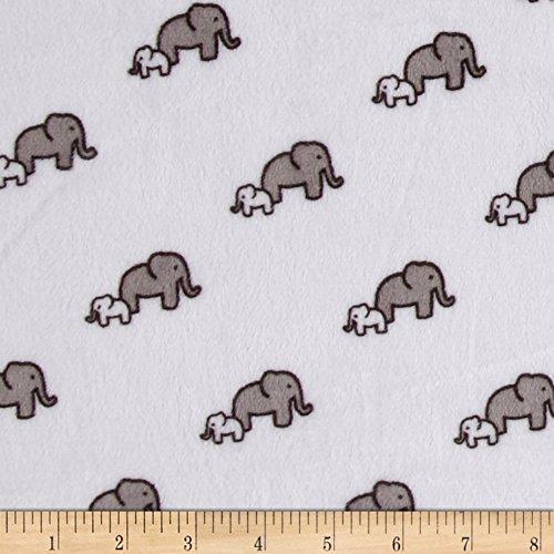 Snow Elephant - Robert Kaufman Shannon Kaufman Minky Cuddle Elephants Snow Fabric by The Yard,