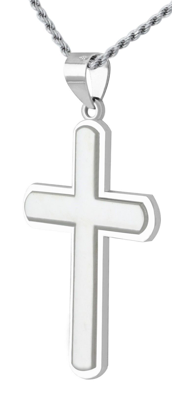 New 1 3/8in Solid 0.925 Sterling Silver High Polished Cross Pendant 3.0mm Figaro Necklace, 24''