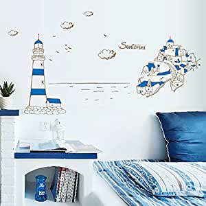 Mediterranean Beautiful Santorini Diy Removable Wall Stickers Living Room Home Decor Poster