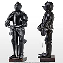 Stainless Steel Duke of Burgundy Suit of Armor Medieval Knight with Sword Black