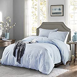 OAITE Duvet Cover,Protects and Covers your Comforter/Duvet Insert,Luxury 100% Super Soft Microfiber,Queen Size,Color LightSkyBlue,3 Piece Duvet Cover Set Includes 2 Pillow Shams