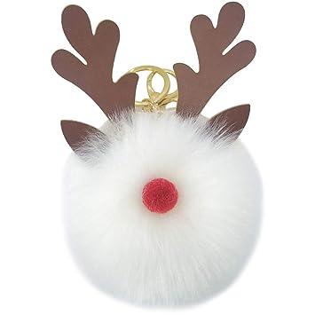 Haodou Navidad Elk Cuernos PU Juguete Lindo Llavero Peluche ...