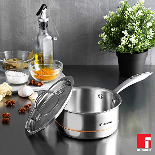 Bergner-Argent-5CX-5-Ply-Stainless-Steel-Saucepan-with-Stainless-Steel-Lid-Riveted-Cast-Handle-Induction-Base-16-cm-16-Liters-Silver