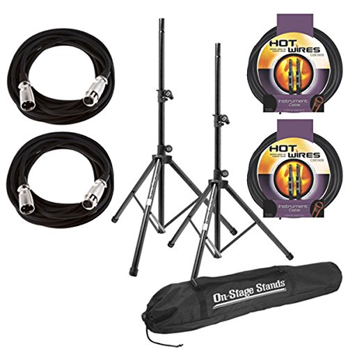 - On Stage SSP7900 All Aluminum Speaker Stand Package with Bag With 2 Mic Cables 20 ft. XLR Bulk + 2 Instrument Cables, 10 ft.