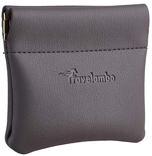 Travelambo Leather Squeeze Coin Purse Pouch Change Holder For Men & Women (Access Grey Light)