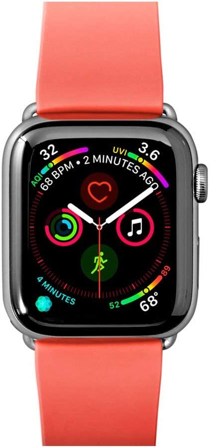 LAUT | Active Watch Strap for Apple Watch Series 1/2/3/4 | Durable Construction | Wipe Clean TPU Material | Stainless Steel Hardware (38mm / 40mm • Coral)
