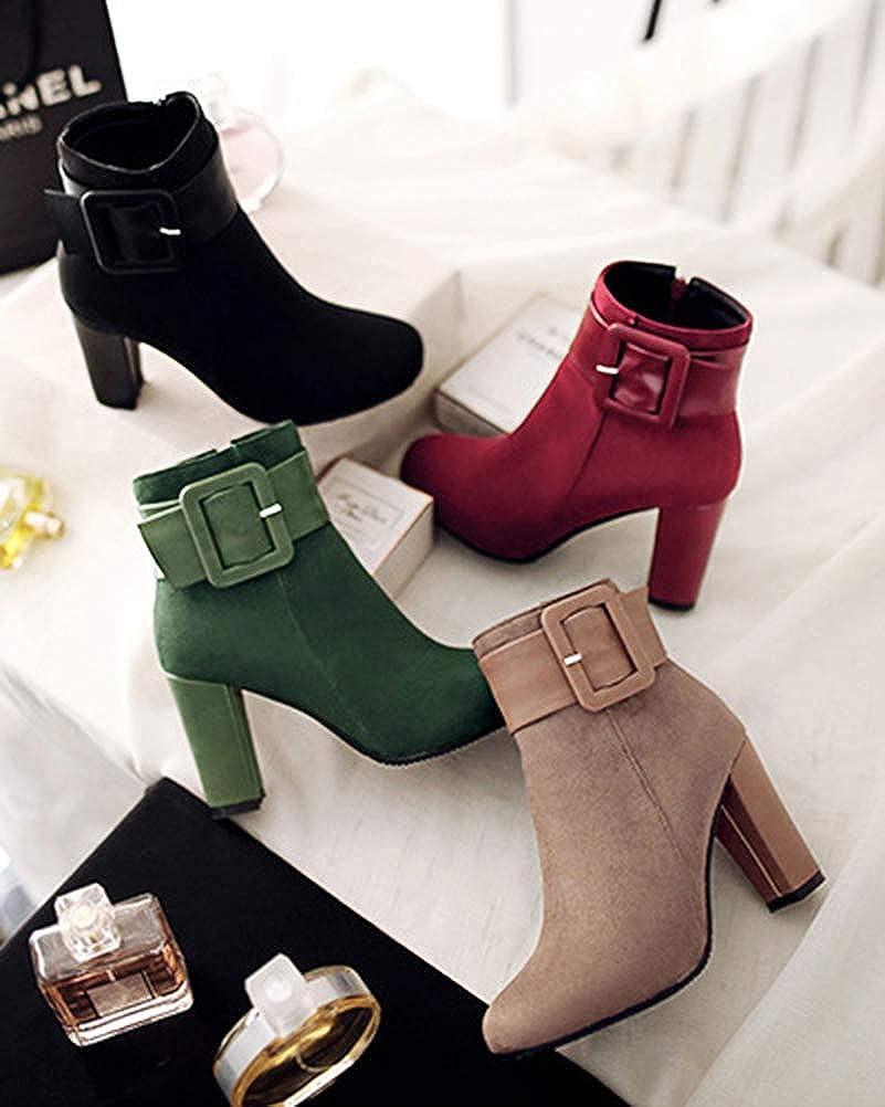 Minetom Stivali Donna Scarpe Autunno Inverno Casual Ankle Boots Stivaletti Tacchi Alti Spessi Fibbia Stivaletti Chelsea da Moda Albicocca