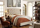 Millbury Home Feliciti Tufted with Wings Upholstery Platform Bed, Queen, Beige