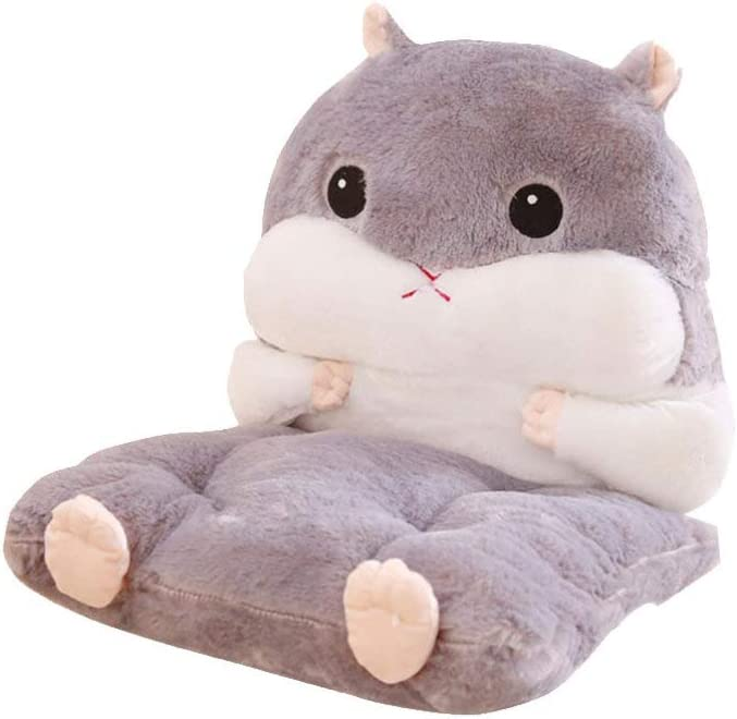 LIOOBO Cute Hamster Chair Cushions - Seat Cushion with Lumbar Support Pillow - Hand Warmer Pillow Cushion - Winter Plush Cushion for Home Office Chair, Car Seat