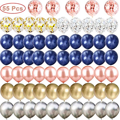 65 Pcs Navy Blue and Gold/Silver Confetti Balloons, 12 inch Rose Gold/Silver/Gold Metallic Party Balloons for Graduation Bachelorette Birthday Decorations and Proposal -