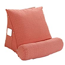 Thomas Laden Comfort Cotton Reading Pillow Lounger Support Pillow with Neck Roll Adjustable Pillow (Orange)