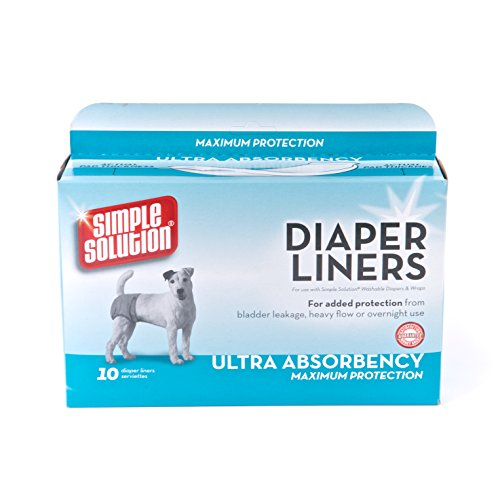 Simple Solution Disposable Dog Diaper Liners Ultra Absorbency, 10 count (Bramton Garment Dog Diaper)