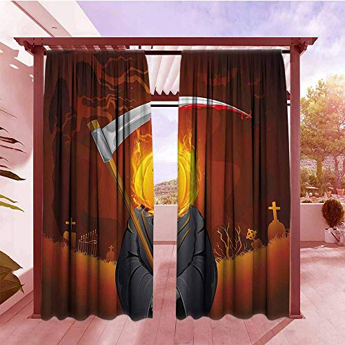 DGGO Curtains Rod Pocket Two Panels Halloween Decorations Pumpkin Grim Head Burning Flames Character Scary Creature Nightmare Darkening Thermal Insulated Blackout W84x96L Orange Grey
