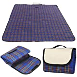 garden mile Large Compact Waterproof 150cm x 115cm Tartan Picnic Blanket Pet Blanket Machine Washable Festival, Camping, Car Blanket Ideal Travel Rug Red Or Blue