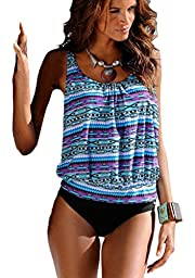 Mumentfienlis Womens Padded Two Piece Pattern Printed Tankini Swimsuit Bathing Suit Size XL Blue