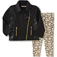 Juicy Couture Baby Girls' Jacket with Pleather Accents and Printed Pant, Blac...