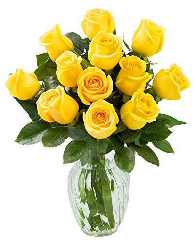 KaBloom Yellow Sunshine Bouquet of 12 Fresh Cut Yellow Roses (Farm-Fresh, Long-Stem) with Vase